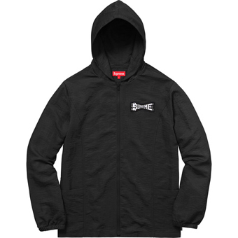 Skew hooded nylon jacket black