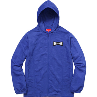 Skew hooded nylon jacket Royal
